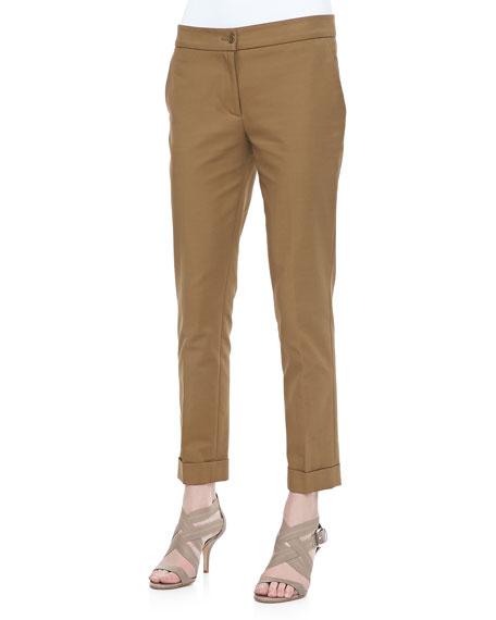 Capri Cigarette Pants, Khaki