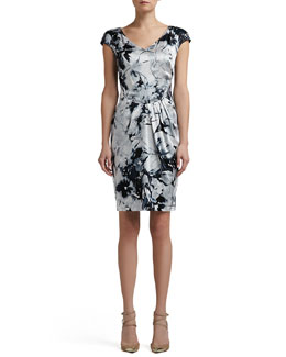St. John Collection Floral Silhouette Print Stretch Silk Charmeuse Cap Sleeve Dress