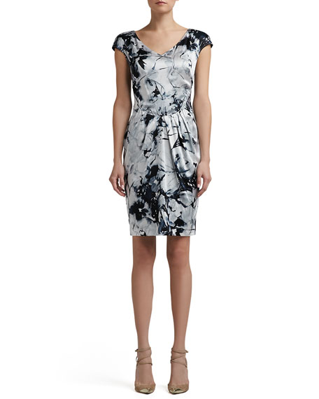 Floral Silhouette Print Stretch Silk Charmeuse Cap Sleeve Dress