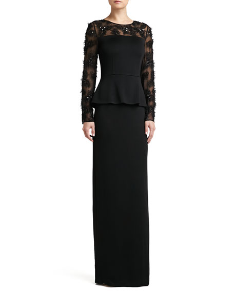 Sateen Milano Knit Peplum Gown with Tulle Floral Hand-Beaded Silk Chiffon and Side Slit