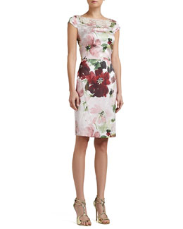 St. John Collection Garden Floral-Print Stretch Silk Cap-Sleeve Dress with Beading