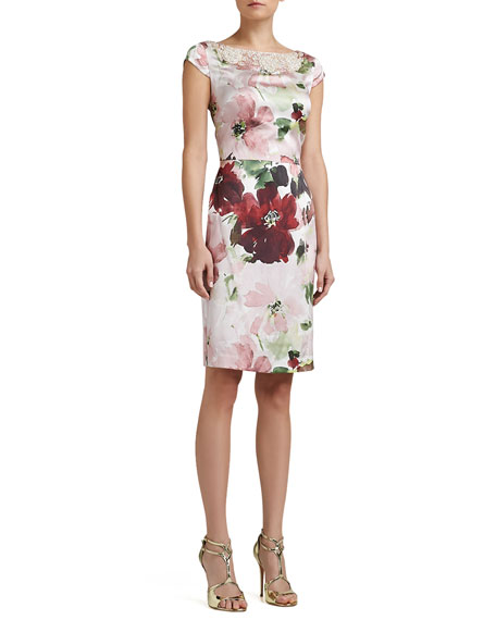 Garden Floral-Print Stretch Silk Cap-Sleeve Dress with Beading