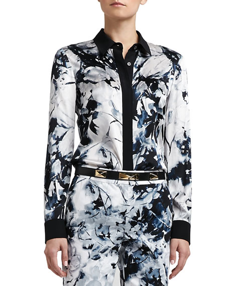 Floral-Print Stretch Silk Charmeuse Blouse with Contrast Crepe Trim
