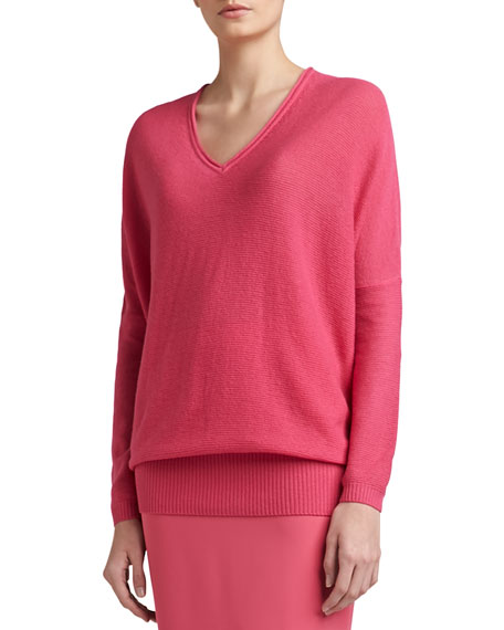 Links Wool-Cashmere Knit Batwing-Sleeve V-Neck Sweater