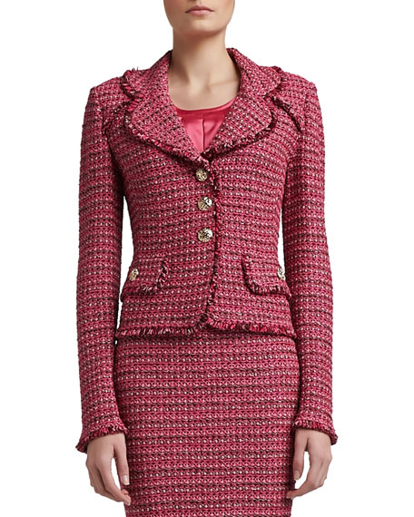 Heathered Dash Tweed Knit Jacket with Pocket Flaps and Fringe