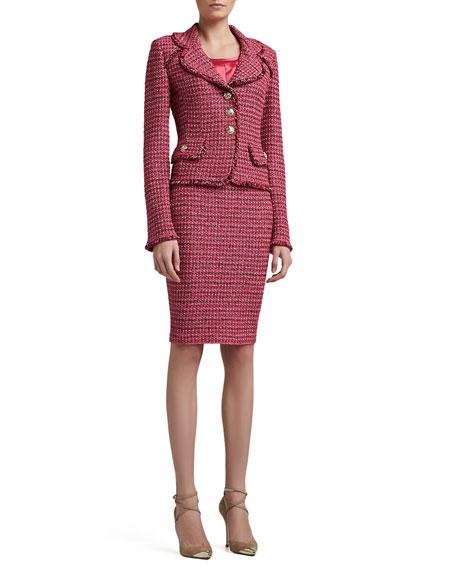 Heathered Dash Tweed Knit Pencil Skirt
