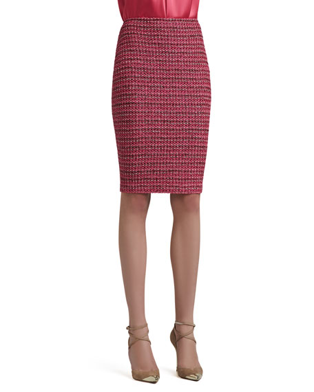 Heathered Dash Tweed Knit Pencil Skirt