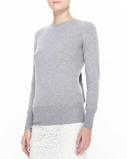 Burberry Prorsum Open-Back Knit Sweater with Bow, Gray