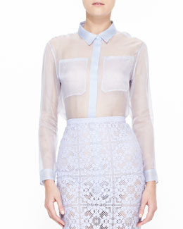 Burberry Prorsum Long-Sleeve Sheer Shirt, Sky Blue