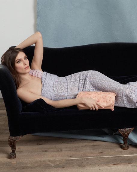 One-Shoulder Floral Lace Twisted Midi Dress, Pale Lavender