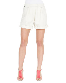 Burberry Brit Tailored Cotton-Linen Shorts, Chalk White