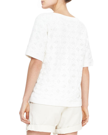 Short-Sleeve Crochet Knit Top, Natural White