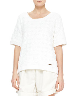 Burberry Brit Short-Sleeve Crochet Knit Top, Natural White