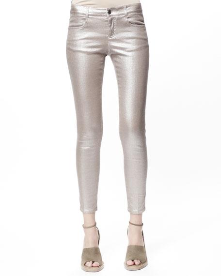 Metallic Skinny Ankle Grazer Jeans, Silver