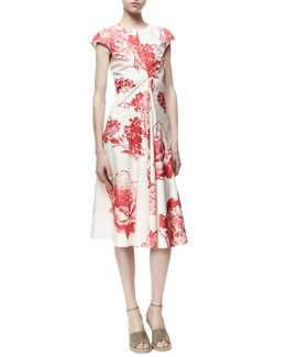 Stella McCartney Noemi Panama Flower-Print Dress, Cream/Chili
