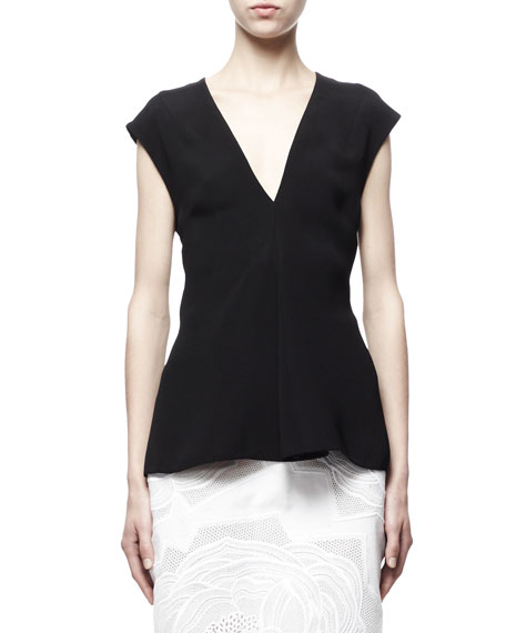 Stella McCartney Cap-Sleeve Silk Top, Black