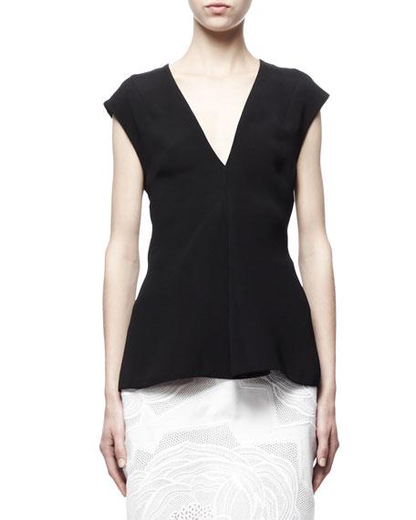 Stella McCartney Cap-Sleeve Silk Top, Black