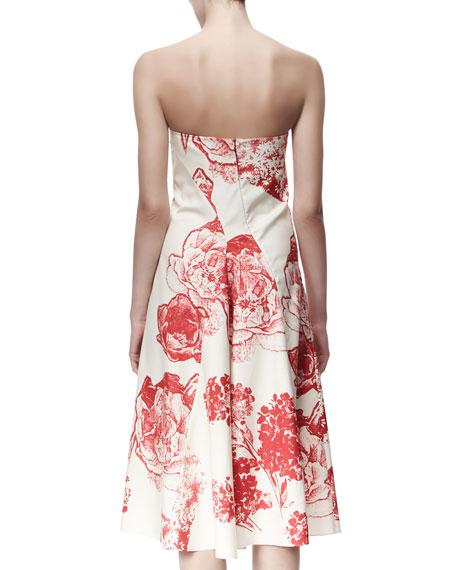 Fiona Panama Flower-Print Strapless Dress, Cream/Chili