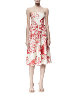 Stella McCartney Fiona Panama Flower-Print Strapless Dress, Cream/Chili