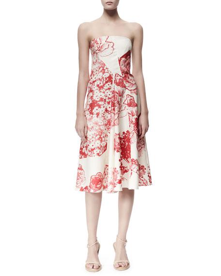 Stella McCartney Fiona Panama Flower-Print Strapless Dress,