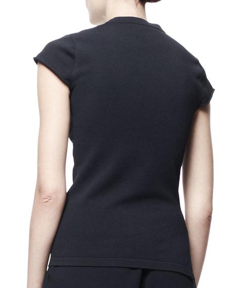 Cap-Sleeve Knit Tee, Black