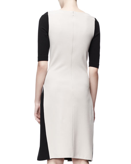 Half-Sleeve Contour Colorblock Dress, Black/White