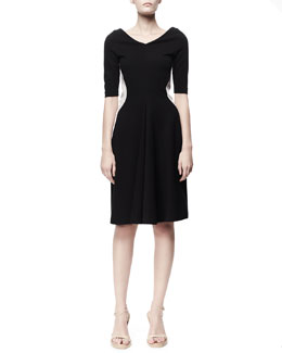 Stella McCartney Half-Sleeve Contour Colorblock Dress, Black/White