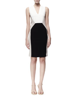 Stella McCartney Open-Back Sleeveless Colorblock Dress, Black/White/Tan