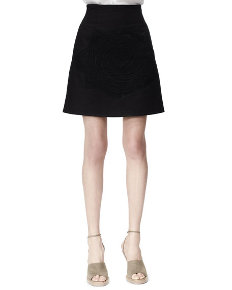 Camilia Rose-Applique Cotton Pique Skirt, Black