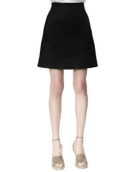 Stella McCartney Camilia Rose-Applique Cotton Pique Skirt, Black