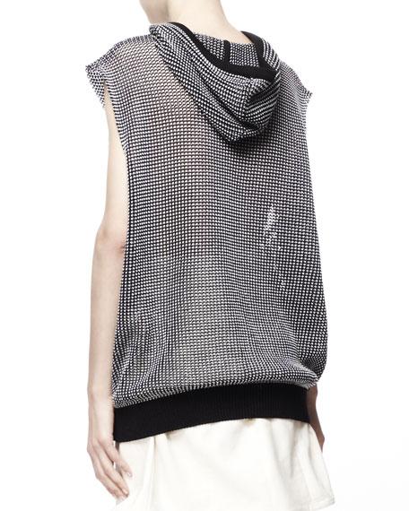 Camilia Sleeveless Rose-Applique Top, Black/Cream