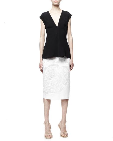Rose-Applique High-Waist Midi Skirt, White