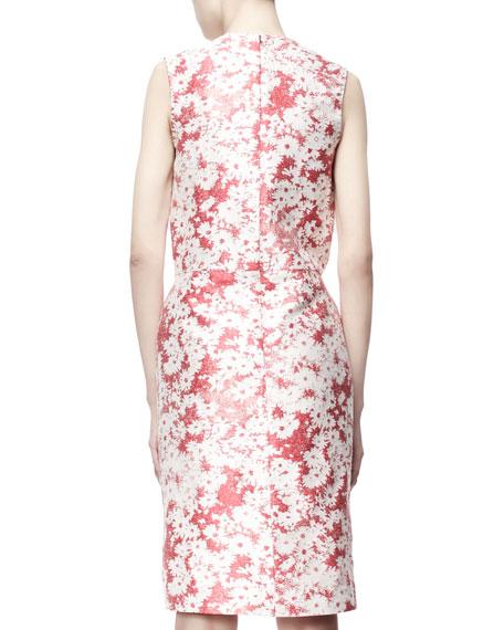 Giona Sleeveless Daisy Jacquard Sheath Dress, Berry
