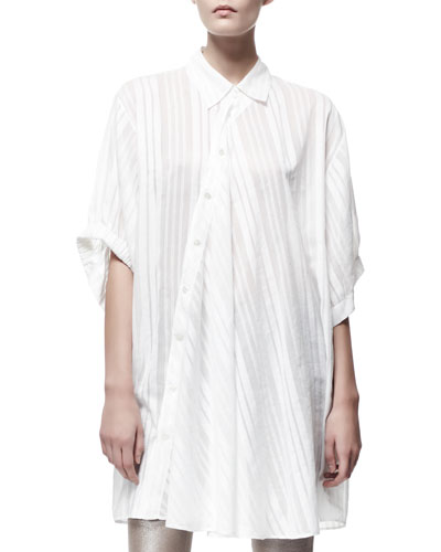 Cesar Asymmetric Button-Front Oversized Tunic, White