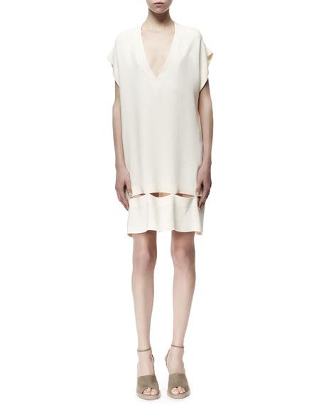 Zelda Flutter-Sleeve Cutout-Bottom Dress, White
