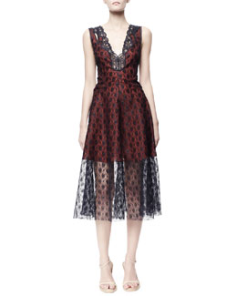 Stella McCartney Rosebud Lace Dress, Blue/Red
