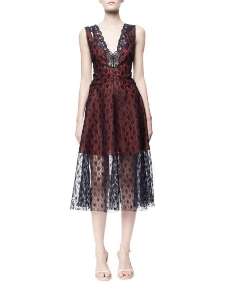 Rosebud Lace Dress, Blue/Red