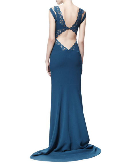 Betta Lace-Trim Open-Back Gown, Capri Blue