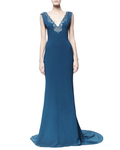 Betta Lace-Trim Open-Back Gown, Capri Blue