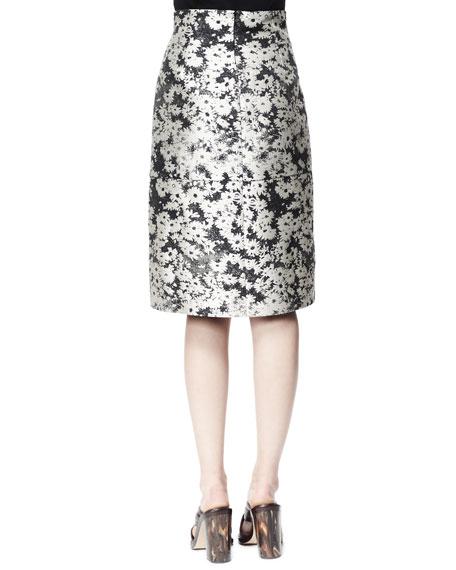 Nina Daisy Jacquard Skirt, Linen White/Black