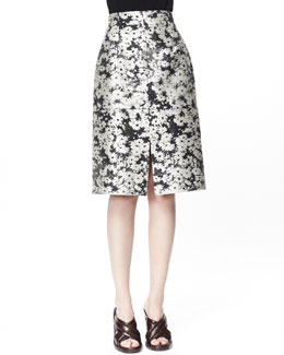 Stella McCartney Nina Daisy Jacquard Skirt, Linen White/Black