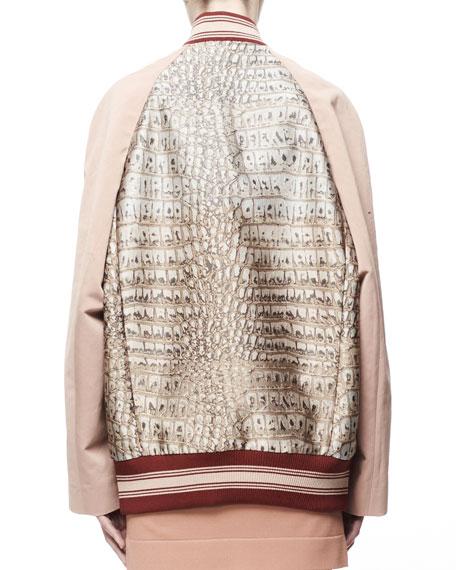 Amelia Croc Jacquard Cady-Sleeve Varsity Jacket