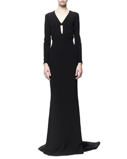 Stella McCartney Caprice Open-Back Long-Sleeve Plunging Gown, Black