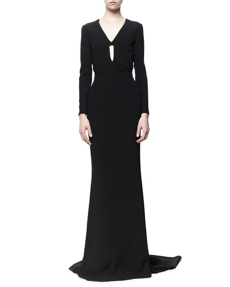 Caprice Open-Back Long-Sleeve Plunging Gown, Black