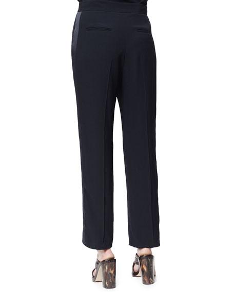 Lorette Satin-Striped Crop Pants, Ink
