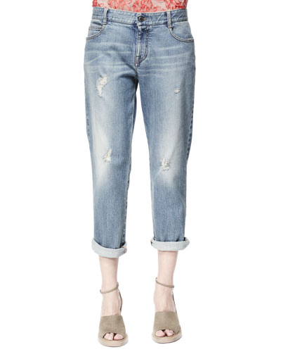 Stella McCartney Tomboy Ripped Ankle Jeans, Pale Blue