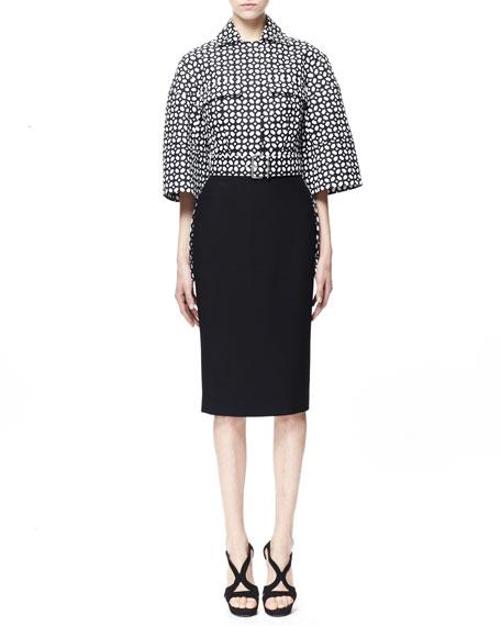 Single Crepe Pencil Skirt, Black