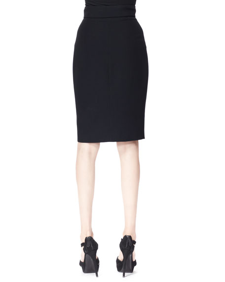 Zip-Front Crepe Pencil Skirt, Black