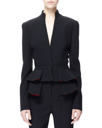 Pleated Crepe Peplum Jacket, Black/Red