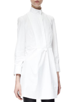 Alexander McQueen Pleat-Back Poplin Tunic/Dress